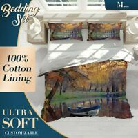 Autumn River Nature Landscape Brown Quilt Cover Single Double Queen King Size