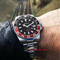 40mm PARNIS black dial sapphire glass GMT date window automatic mens wrist watch