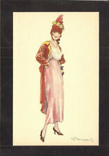 POSTCARD:  SERGIO BOMPARD, ITALY - ART DECO GLAMOUR GIRL WEARING PINK & RED