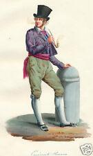 1840 Rome Lazio Italy man costume watercolor HC watercolor engraving