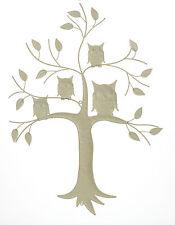 Vintage Folk Art Style Shabby Chic Distressed Cream Metal Owl Wall Art Sign NEW