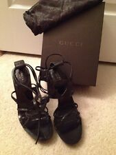 GUCCI Black Heart Wraparound Gladiator Sandals In Box With Bag Sz9