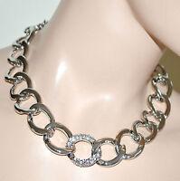 COLLANA Girocollo donna catena anelli strass argento collier Collar Necklace 84