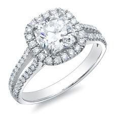 Diamond Engagement Ring H,Vs2 Egl Usa 3.85Ct Cushion Cut Split Shank U-Pave Plat