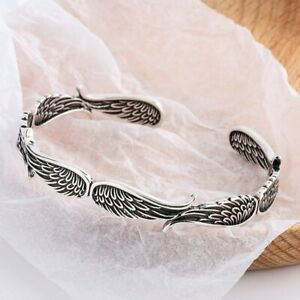 925 Silver Feather Cuff Lucky Bracelet Adjustable Fashion Bangle Jewelry Gifts