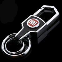 Fiat car metal keyring key safe fob case cover badge holder chain tags