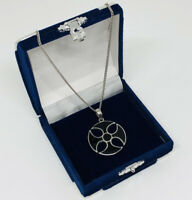 Vintage Sterling Silver 925 Necklace & Enamel Celtic Style Maltese Cross Pendant