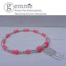 Sterling Silver & Coral  Beaded Stretch Bracelet with Dreamcatcher Charm