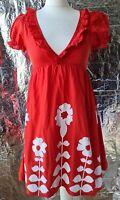HEAVEN DRESS S UK8/10 red floral petticoat v neck short sleeve short