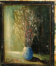 VINTAGE MODERNIST OIL PAINTING STILL LIFE WITH FLOWERS SIGNED