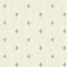 Dark Grey Fleur De Lis Dotted on Grey Linen Background Wallpaper AB1863