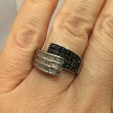 Sterling Silver 1 Ct Black Diamond Pave Cocktail Criss Cross 925 Wedding Ring 7