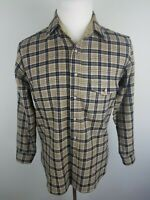 LOBO by Pendleton Wool Flannel Mens M Button Down Long Sleeve Shirt Blue Tan EUC