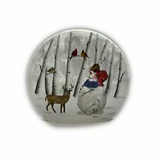 "Stony Creek - Frosted Glass - 10"" Round LIghted - Snowman in a Red Hat"