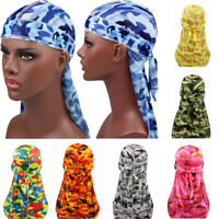 Breathable Waves Rags Camo Durags  Headband  Men's Silky Turban Pirate Hat