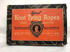 Rare Original 1942 BSA Boy Scout Official Knot Tying Ropes w/box & manual
