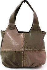 Womens Ladies Patch Faux Leather Style Tote Hobo Shoulder Bag Handbag Brown