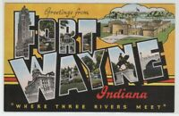 [66338] OLD LARGE LETTER POSTCARD GREETINGS from FORT WAYNE, INDIANA
