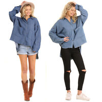 UMGEE Womens Denim Chic Distressed Woven Long Sleeves Top Blouse Shirt S M L
