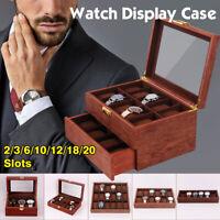 2/3/6/10/12/18/20 Grids Wooden Watch Box Display Organizer Holder Storage Case