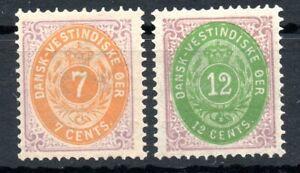 DANISH WEST INDIES , 1874 / 1877 , scarce 7 cents  ans 12 cents  , MH