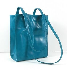Viva of California Turquoise Blue Leather Two Handle Shoulder Bag Tote 1980s