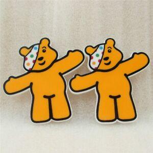 5 x 46mm PUDSEY BEAR CHILDREN IN NEED LASER CUT FLAT BACK RESIN HEADBANDS BOWS