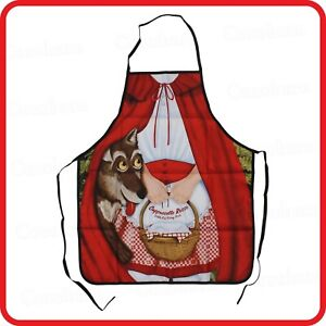 APRON-LITTLE RED RIDING HOOD-FAIRY TALE-BIG BAD WOLF-CAPPUCCETTO ROSSO-PARTY-BBQ