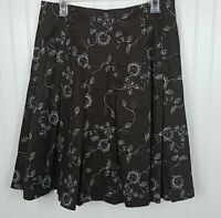 Kennar Brown Embroidered Skirt Women's Size 8 Pleated Flare Lined EUC