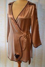 Janet Reger casa abrigo mini talla s rosa malva/negro seda Designer 5005