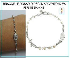 Bracciale Rosario Uomo Donna in Argento 925% con Perle Perline Croce Medaglia