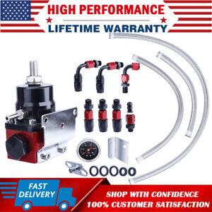 Adjustable Fuel Pressure Regulator FPR Kit Gas / Oil 0-100psi Gauge 6AN AN6 Line