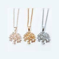 Halskette Kette Baum des Lebens Zirkonia Anhänger Natur Rosegold Silber Gold