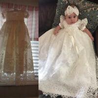 White Ivory Baby Infant Toddler Christening Dresses for Girls Baptism Headband
