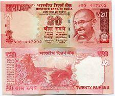 India 20 Rupees Mahatma Gandhi 2015 Unc P103 New Variation X 10 Sequential Notes