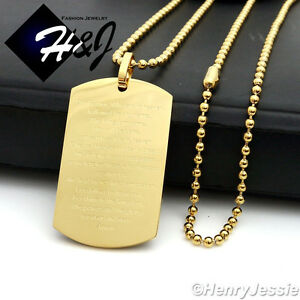 """30""""MEN Stainless Steel 2.5mm Gold Beads Chain Bible Verse Dog Tag Pendant*P70"""