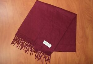 100% Pure Cashmere Burgundy Red Scarf ~NEW~ England