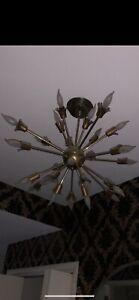 Original Vintage 1960s Mid-Century Modern 24-Arm Brass Sputnik Chandelier