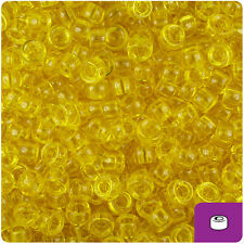 1000 Dark Yellow Transparent 7mm Mini Barrel Plastic Pony Beads Made in the USA