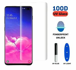 Full Glue UV Light Tempered Glass Screen Protector Samsung S8 S8+ S9 S9+ Note 10