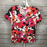 Beyond Scrubs Womens Floral Print Scrub Top Size Small