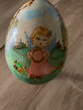 Vintage Russian Painted Wooden Egg w/Stand Cherub Angel Gold & Pink