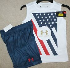 New! Boys Under Armour Summer Outfit (Muscle Shirt, Shorts; USA Flag) - Size 5