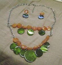 Necklace & Dangley Pierced Earring Set Nwot- Orange & Green Double Stand Chain
