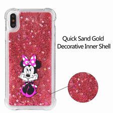 For iPhone X Minine Disney Pattern Glitter Quicksand Shockproof Silicone Case