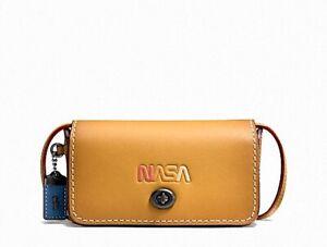 NWT Coach 1941 NASA Space Goldenrod Leather DINKIER Mini Clutch Crossbody $295