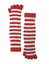 Women's Red Toe Socks (Pair) Red and White Stripes