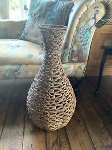 Large 66cm Tall Wicker/rattan floor vase