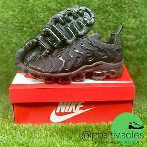 NIKE AIR VAPORMAX PLUS TRIPLE BLACK 924453-004 DARK GREY MEN'S RUNNING SHOE NEW