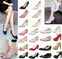 Ladies Slip On Mid Heel Pointed Toe Court Work Office Womens Pumps Loafers Shoes